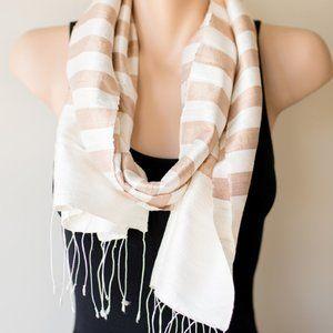 ⭐️HOST PICK⭐️ Silk Scarf in Mocha and Cream Stripe